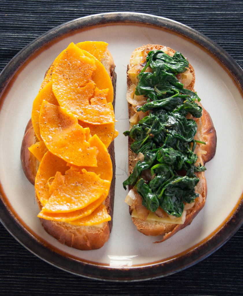 sage derby and butternut squash grilled cheese sandwich