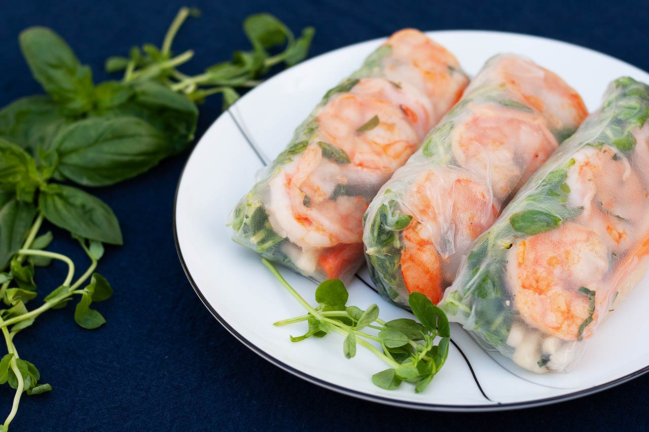 Shrimp Summer Rolls with Pea Sprouts and Quick-Pickled Jicama