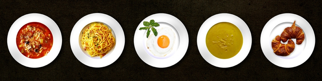 a series of dishes in a row, illustrating the concept of meal planning and meal prep