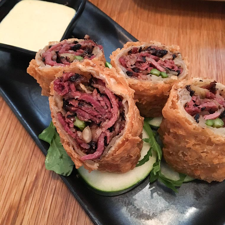 Katz's Pastrami Egg Rolls - Dim Sum at RedFarm Restaurant, Upper West Side