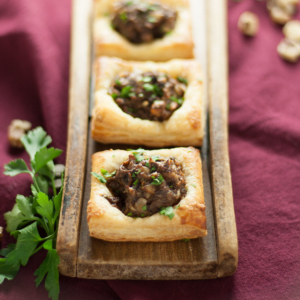 Mushroom and Black Walnut Tartlets (Vegan)