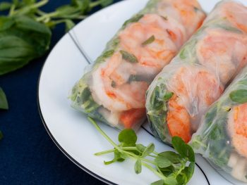 Shrimp and Pea Sprout Summer Rolls with Quick-Pickled Jicama